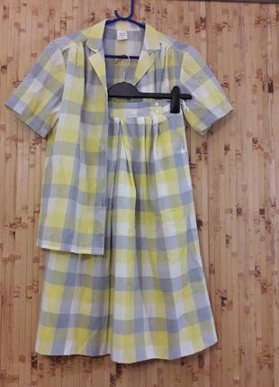 Летний костюм двойка юбка в складку + рубашка