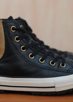 3b083afe Черные женские кожаные зимние кеды, ботинки converse all star, конверсы.  37.5 - 38