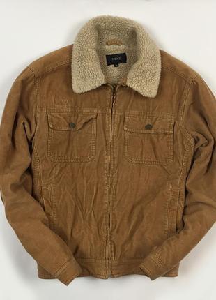 Утепленная next джинсовка некст вельветовая коричневая куртка