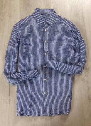 M-l  льняная приталенная рубашка blue harbour белая в полоску