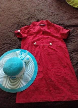 Летнее красное платье zara