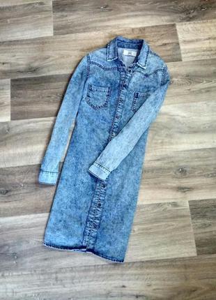 Крутое джинсовое платье-рубашка