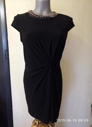 Финальная распродажа!красивое короткое платье-футляр,с декором