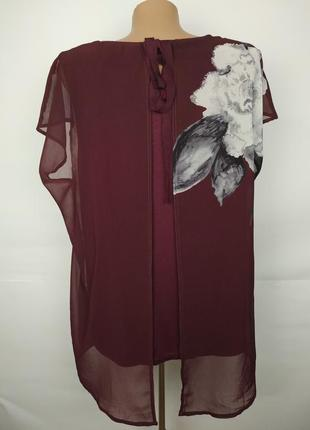 Блуза красивая двухслойная в цветы uk 16/44/xl5 фото