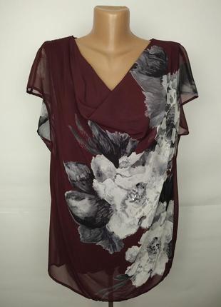 Блуза красивая двухслойная в цветы uk 16/44/xl