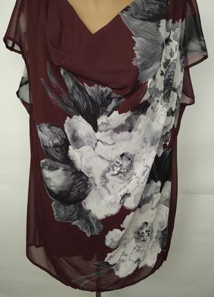 Блуза красивая двухслойная в цветы uk 16/44/xl3 фото