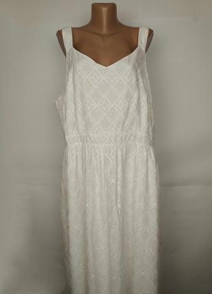 Платье сарафан новое натуральное белое кружевное батистовка большой размер uk 22/50/4xl