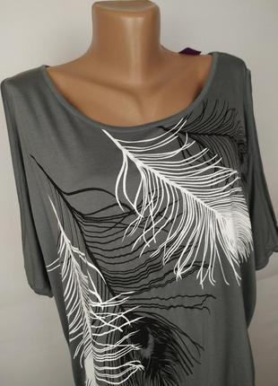 Блуза новая натуральная красивая в принт жар-птицы большой размер uk 18-202 фото