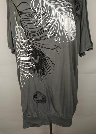 Блуза новая натуральная красивая в принт жар-птицы большой размер uk 18-203 фото