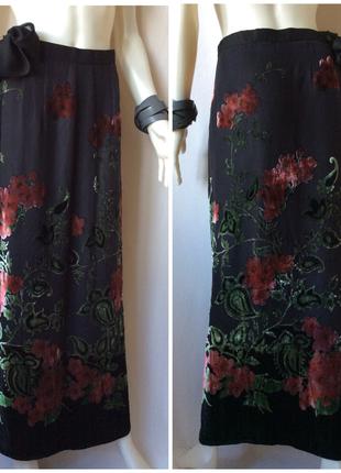 Итальянская красивая длинная юбка из шёлка и вискозы с флористически бархатным рисунком
