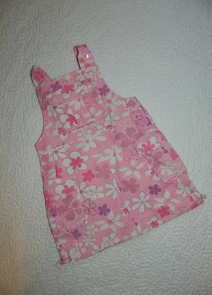 Сарафан котоновый детский розовый с цветочками на девочку 4-5 лет x-mail.