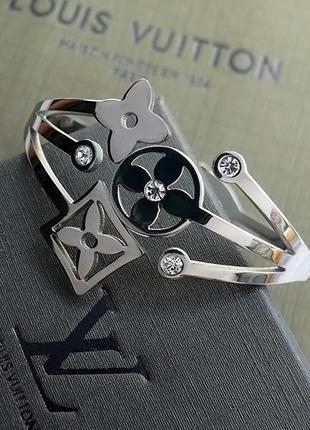 Женский брендовый браслет с фианитами, подарочный комплект