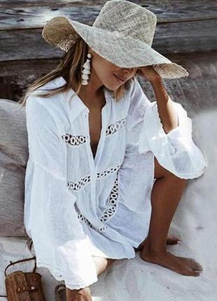 Пляжное платье короткое белое на длинный рукав