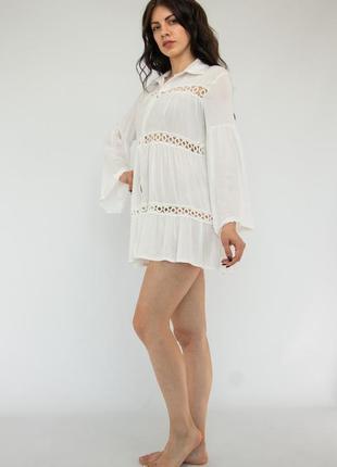 Пляжное платье короткое белое на длинный рукав3 фото
