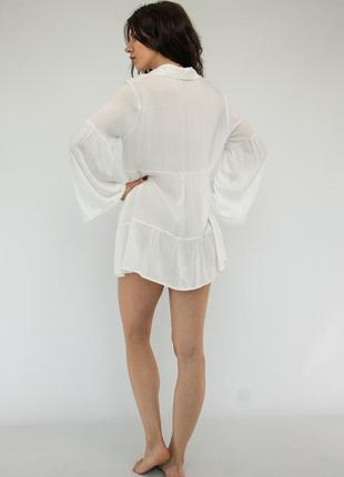 Пляжное платье короткое белое на длинный рукав4 фото