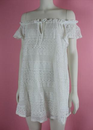 Платье кружевное белое открытыми плечами беременных пляжное свободное сарафан короткое