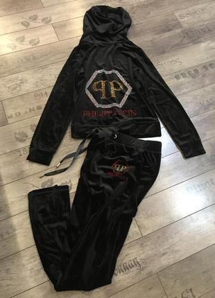Велюровый новый женский чёрный костюм philipp plein м
