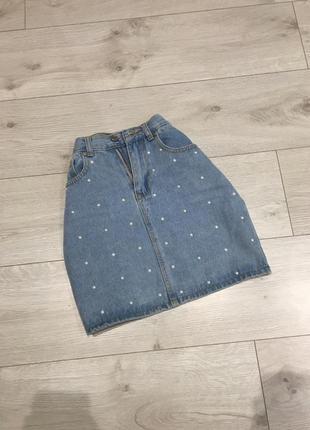 Стильная котоновая джинсовая юбка на высокой талии