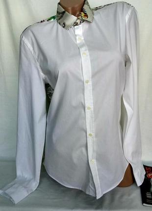Комбинированная рубашка белая с цветочной спинкой р. m , от gaudi италия