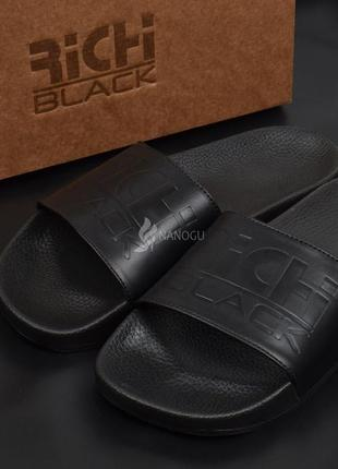 Шлепанцы мужские кожаные richi black оригинал черные из натуральной кожи