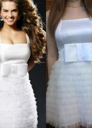 Нарядное белое платье ручной работы