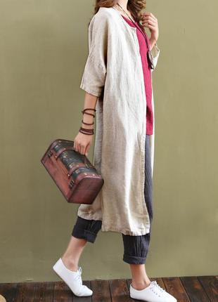 Льняной кардиган из натуральной ткани с короткими рукавами в полоску платье-халат