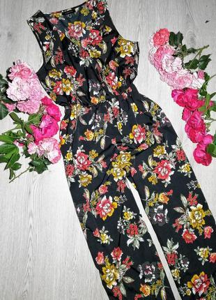 Нереально красивый комбенизон с брюками кюлотами на запах в цветочный принт l-xl
