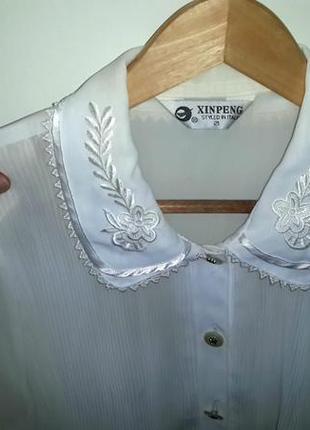 Гофрированная блузочка с двойным воротником