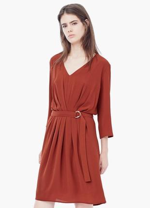 Платье mango драпировкой поясом миди кирпичное терракотовое напуском нарядное вырезом три