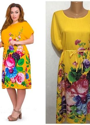 Новое яркое платье туника с цветами, хлопок, большой размер 52-54