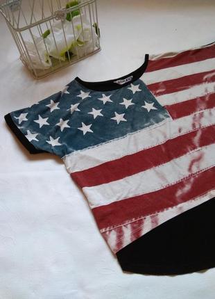 Футболка с флагом 🇺🇸 кроп топ. короткая футболка. майка. с принтом