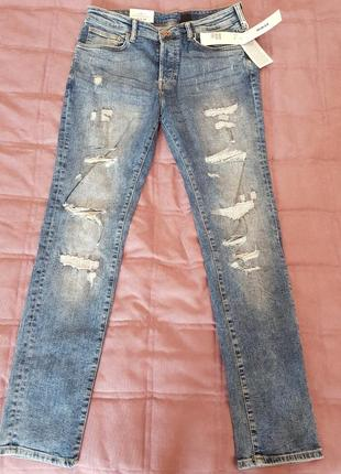 Мужские джинсы скинны с дырками h&m
