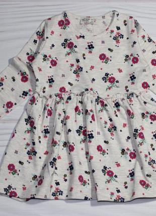 Хлопковое платье в цветочный принт, длинный рукав, турция