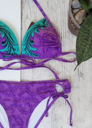 Фиолетовый купальник push-up на завязках с треугольными чашечками4 фото