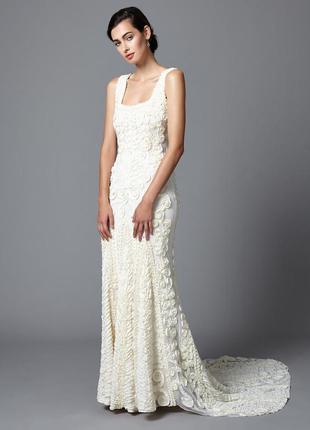 Свадебное вечернее выпускное платье со шлейфом пайетка бисер гетсби phase eight