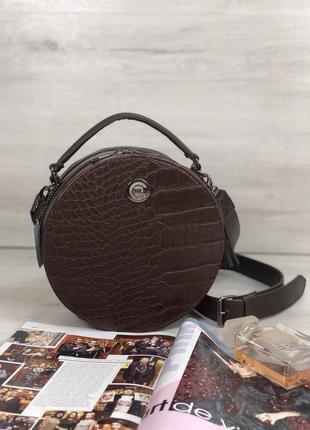Женская круглая сумка коричневый крокодил круглый клатч