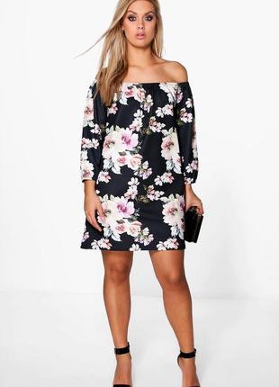 Новое платье в цветочный принт с открытыми плечами boohoo размер 18