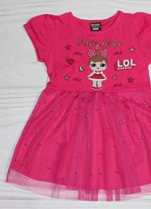 Летнее нарядное фатиновое малиновое платье с lol и пайетками, турция