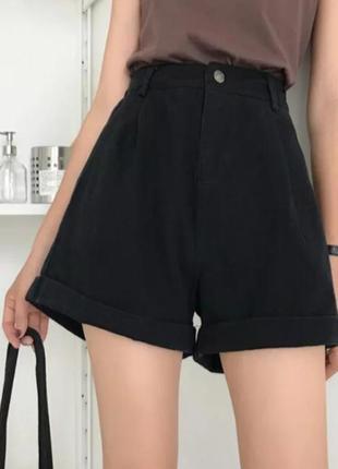 Джинсовые шорты,трендовые шорты, джинсовые шорты, черные шорты, женские шорты
