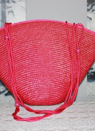 Cумка большая летняя пляжная плетеная соломка лоза розовая фуксия малиновая розовая