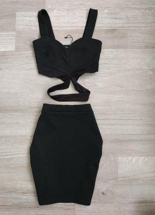 Черная юбка с топом  boohoo