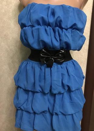 Платье воланы под пояс резинка