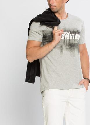 Мужская футболка серая lc waikiki лс вайкики с надписью the new imaginati