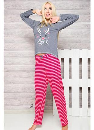 Флисовые яркие розовые пижамные штрюксы в полосочку-большой размер 20-22.
