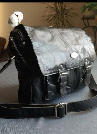 Кожаная мужская черная вместительная сумка кроссбоди фирмы rowallan в новом новом сост2 фото