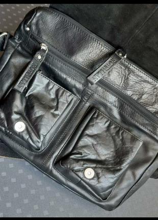 Кожаная мужская черная вместительная сумка кроссбоди фирмы rowallan в новом новом сост6 фото