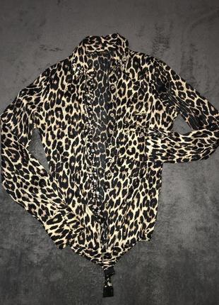 Леопардовая шикарная блузка - боди с камнями