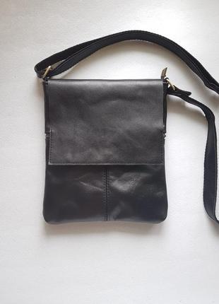Мужская сумка кожа планшет черного цвета c клапаном