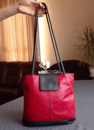 Кожаная черно красная сумка транформер рюкзак 2в1 италия