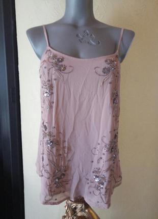 Ликвидация лета!пудровая майка,блуза,топ из вискозы,с вышивкой